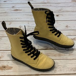 Doc Martens Yellow Stratford Canvas High Top Boots